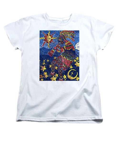 Kokopelli Mosaic Women's T-Shirt (Standard Cut) by Megan Walsh