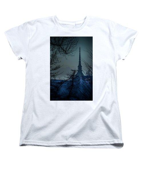Women's T-Shirt (Standard Cut) featuring the photograph La Mole Antonelliana-blu by Sonny Marcyan