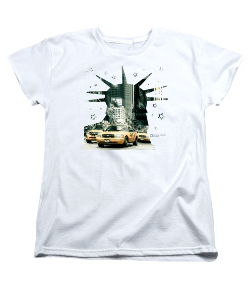 Lady Liberty And The Yellow Cabs Women's T-Shirt (Standard Cut) by Hannes Cmarits