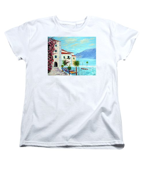 Women's T-Shirt (Standard Cut) featuring the painting Lake Garda Bliss by Larry Cirigliano