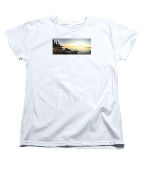 Women's T-Shirt (Standard Cut) featuring the photograph Lake Superior Evening Sky by Paula Brown