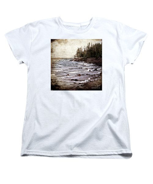 Women's T-Shirt (Standard Cut) featuring the photograph Lake Superior Waves by Phil Perkins