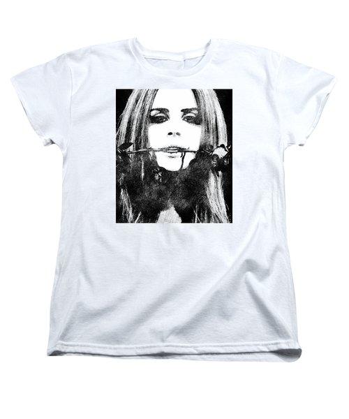 Lana Del Rey Bw Portrait Women's T-Shirt (Standard Cut) by Mihaela Pater