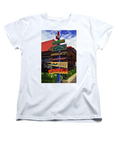 Women's T-Shirt (Standard Cut) featuring the photograph Lanikai Kailua Waikiki Beach Signs by Aloha Art