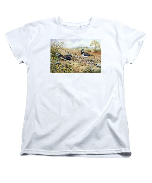 Lapwing Family With Goldfinches Women's T-Shirt (Standard Cut) by Carl Donner