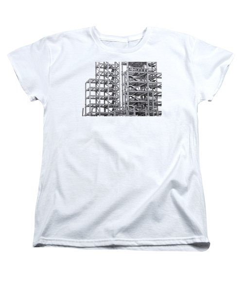 Women's T-Shirt (Standard Cut) featuring the photograph Large Scale Construction Project With Steel Girders by Yali Shi