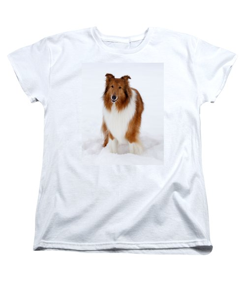 Lassie Enjoying The Snow Women's T-Shirt (Standard Cut) by Shane Holsclaw