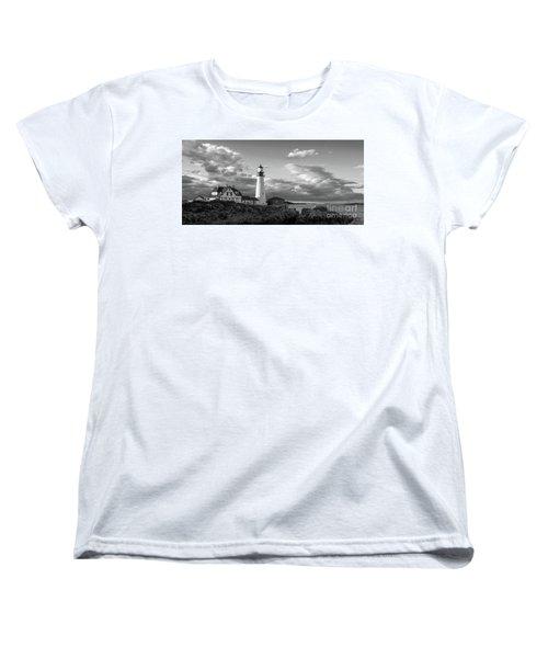 Women's T-Shirt (Standard Cut) featuring the photograph Late Afternoon Clouds, Portland Head Light  -98461 by John Bald