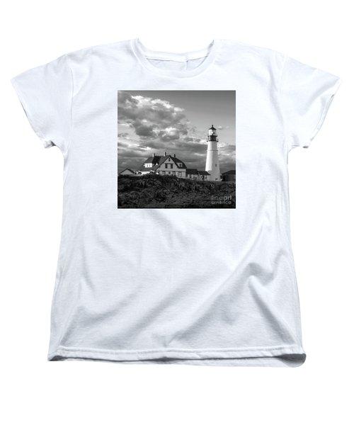 Women's T-Shirt (Standard Cut) featuring the photograph Late Afternoon Clouds, Portland Head Light  -98461-sq by John Bald