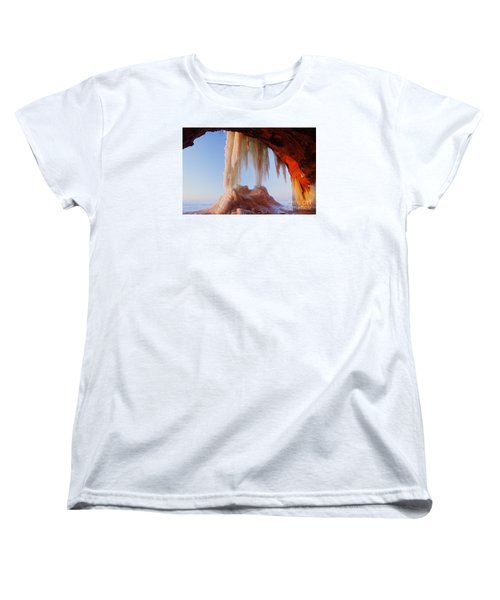 Women's T-Shirt (Standard Cut) featuring the photograph Late Afternoon In An Ice Cave by Larry Ricker