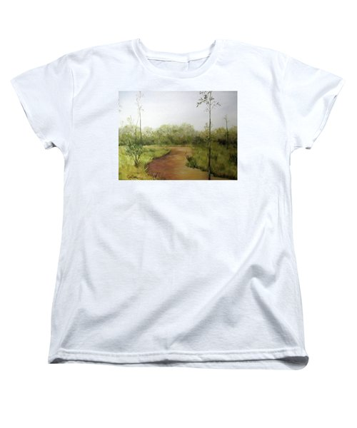 Women's T-Shirt (Standard Cut) featuring the painting Late Summer Walk by Roseann Gilmore
