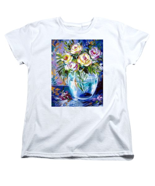 Women's T-Shirt (Standard Cut) featuring the painting Le Rose Bianche by Roberto Gagliardi