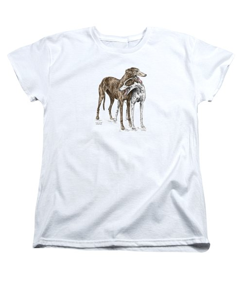Women's T-Shirt (Standard Cut) featuring the drawing Lean On Me - Greyhound Dogs Print Color Tinted by Kelli Swan