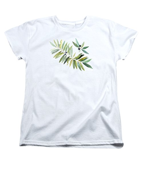 Women's T-Shirt (Standard Cut) featuring the painting Leaves And Berries by Laurie Rohner