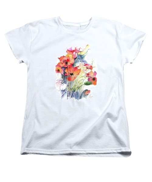 Women's T-Shirt (Standard Cut) featuring the painting Leaving The Shadow by Anna Ewa Miarczynska