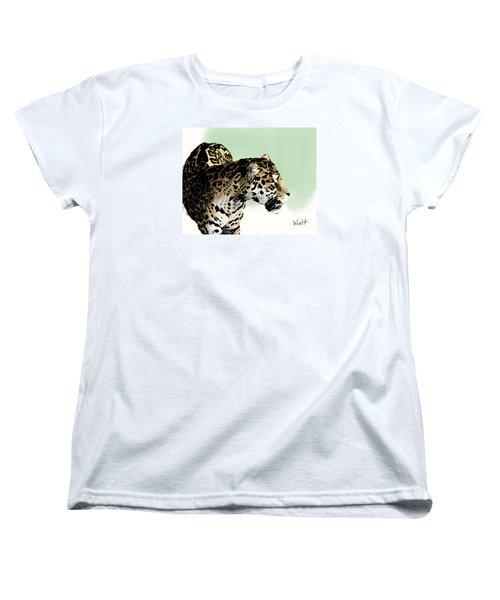 Women's T-Shirt (Standard Cut) featuring the digital art Leopard by Walter Chamberlain
