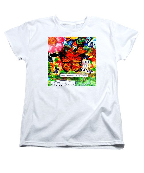 Women's T-Shirt (Standard Cut) featuring the mixed media Let It Go by Genevieve Esson