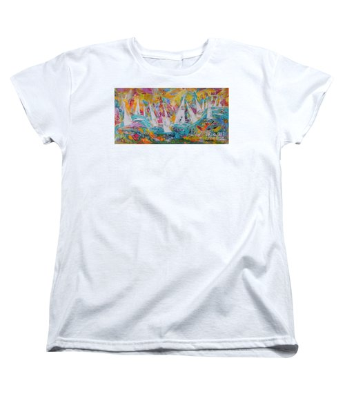 Women's T-Shirt (Standard Cut) featuring the painting Lets Go Sailing by Lyn Olsen