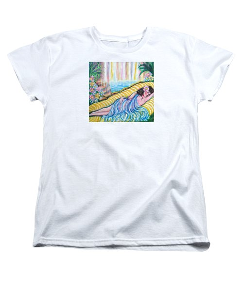 Women's T-Shirt (Standard Cut) featuring the painting Life Doesn't Get Any Better by Anya Heller