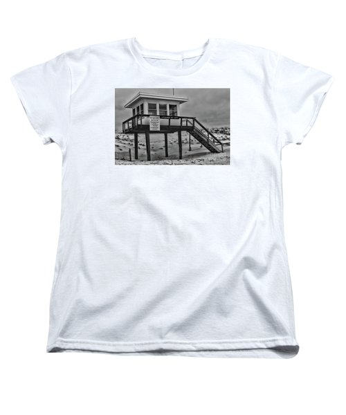 Women's T-Shirt (Standard Cut) featuring the photograph Lifeguard Station 1 In Black And White by Paul Ward
