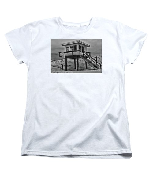 Women's T-Shirt (Standard Cut) featuring the photograph Lifeguard Station 2 In Black And White by Paul Ward