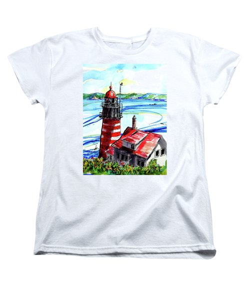 Women's T-Shirt (Standard Cut) featuring the painting Lighthouse In Maine by Terry Banderas