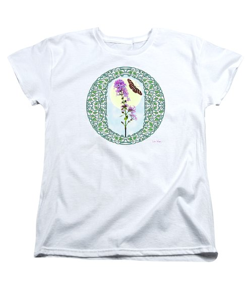 Lilac With Butterfly Women's T-Shirt (Standard Cut) by Lise Winne