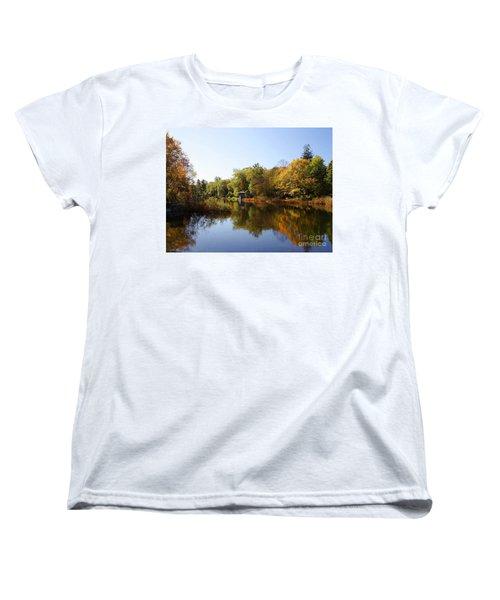 Little Shawme Pond In Sandwich Massachusetts Women's T-Shirt (Standard Cut) by Rod Jellison
