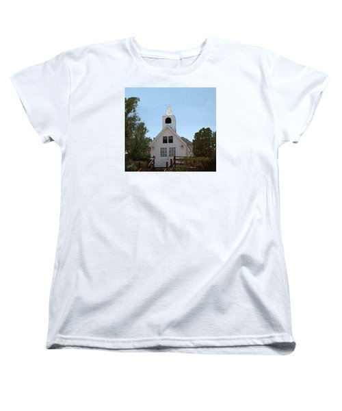 Women's T-Shirt (Standard Cut) featuring the digital art Little White Church by Walter Chamberlain