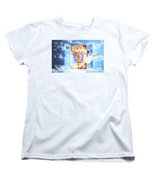 Women's T-Shirt (Standard Cut) featuring the digital art Living Word Of God by Dolores Develde