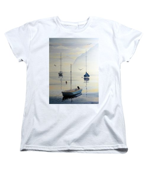 Locarno Boats In February Women's T-Shirt (Standard Cut) by David Gilmore
