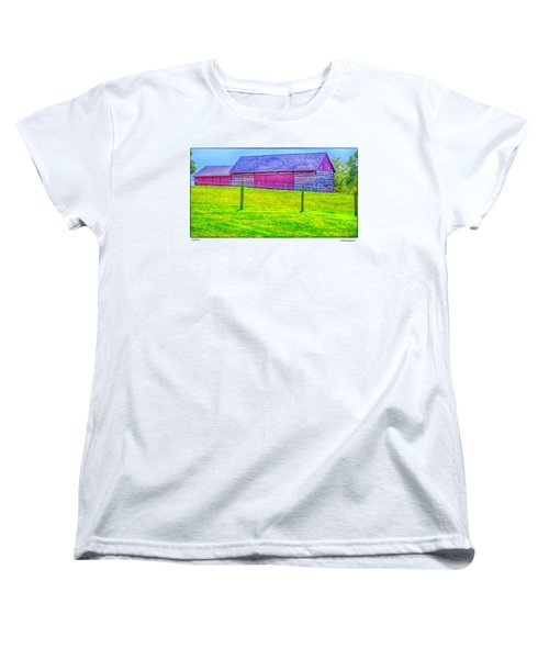 Women's T-Shirt (Standard Cut) featuring the photograph Log Barn by R Thomas Berner