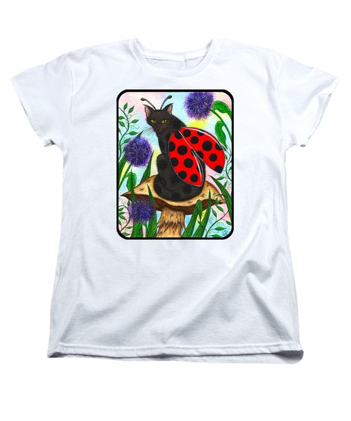Women's T-Shirt (Standard Cut) featuring the painting Logan Ladybug Fairy Cat by Carrie Hawks