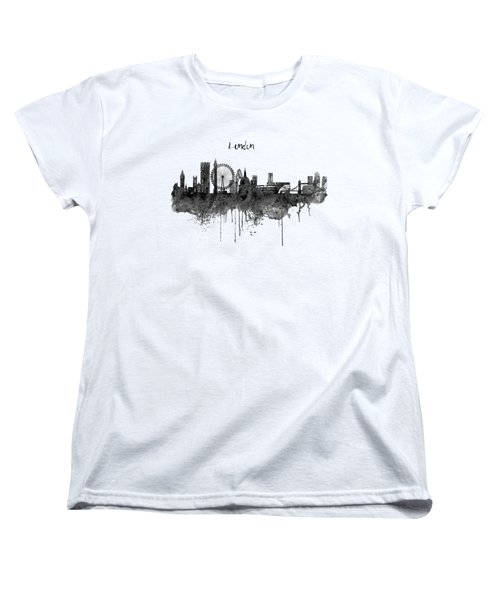 London Black And White Skyline Watercolor Women's T-Shirt (Standard Cut) by Marian Voicu