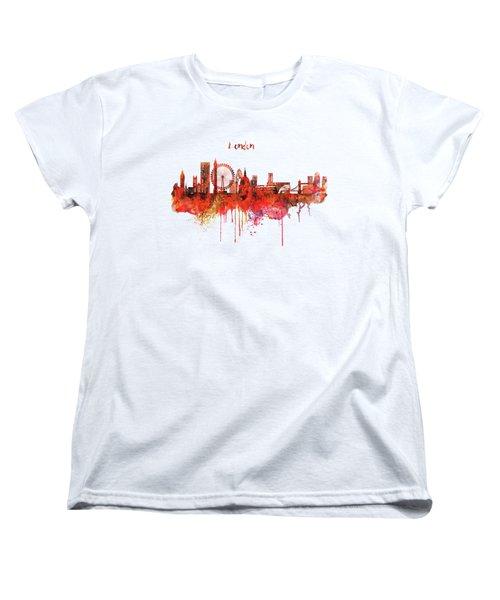 London Skyline Watercolor Women's T-Shirt (Standard Cut) by Marian Voicu