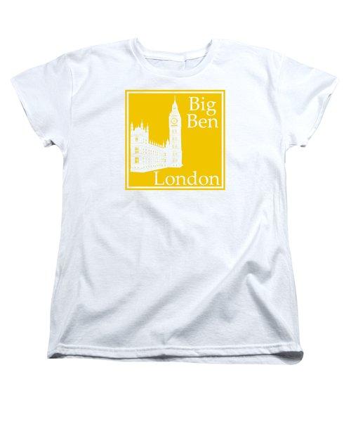 London's Big Ben In Mustard Yellow Women's T-Shirt (Standard Cut) by Custom Home Fashions