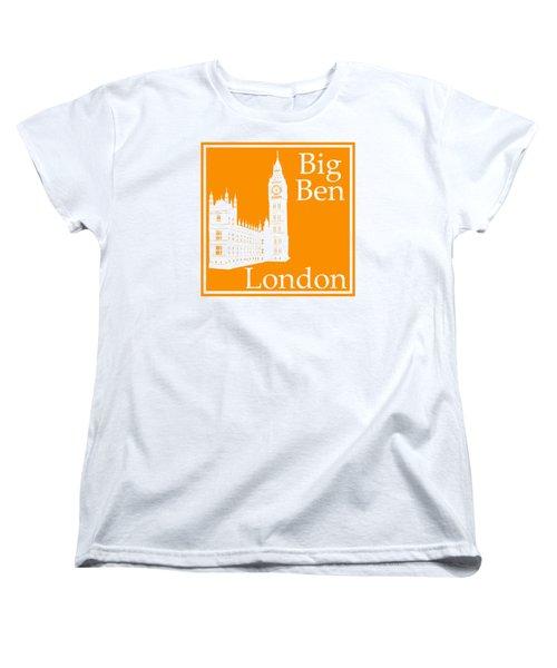 London's Big Ben In Tangerine Women's T-Shirt (Standard Cut) by Custom Home Fashions