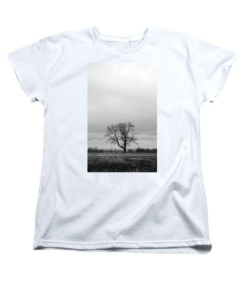 Lonely Tree In A Spring Field Women's T-Shirt (Standard Cut) by GoodMood Art