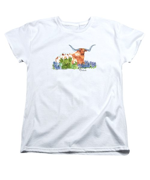 Longhorn In The Cactus And Bluebonnets Lh014 Kathleen Mcelwaine Women's T-Shirt (Standard Cut) by Kathleen McElwaine