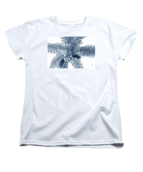 Women's T-Shirt (Standard Cut) featuring the photograph Looking Up At Palm Tree Blue by Ben and Raisa Gertsberg