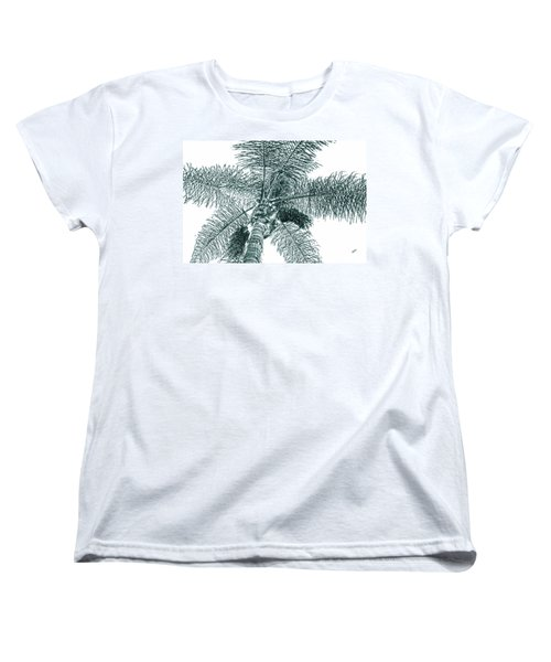 Women's T-Shirt (Standard Cut) featuring the photograph Looking Up At Palm Tree Green by Ben and Raisa Gertsberg