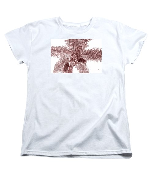 Women's T-Shirt (Standard Cut) featuring the photograph Looking Up At Palm Tree Red by Ben and Raisa Gertsberg