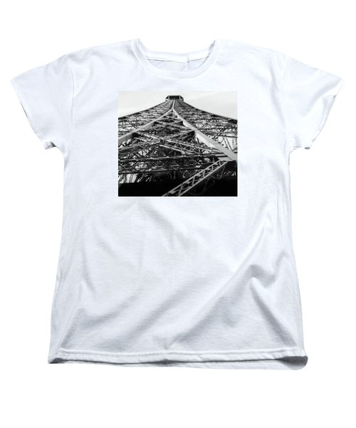 Looking Up From The Eiffel Tower Women's T-Shirt (Standard Cut) by Darlene Berger
