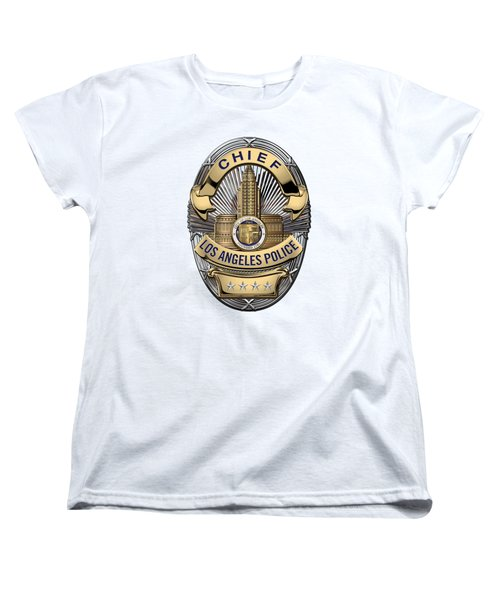 Los Angeles Police Department  -  L A P D  Chief Badge Over White Leather Women's T-Shirt (Standard Cut) by Serge Averbukh