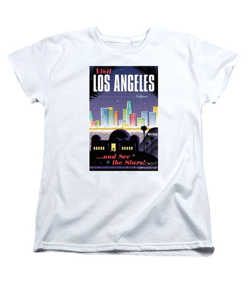 Los Angeles Retro Travel Poster Women's T-Shirt (Standard Cut) by Jim Zahniser