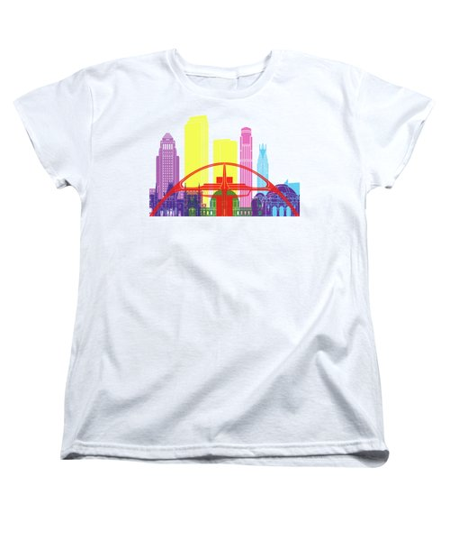 Los Angeles Skyline Pop Women's T-Shirt (Standard Cut) by Pablo Romero