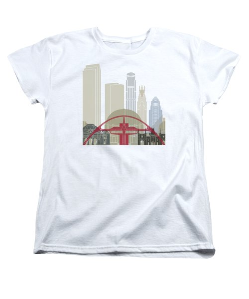 Los Angeles Skyline Poster Women's T-Shirt (Standard Cut) by Pablo Romero