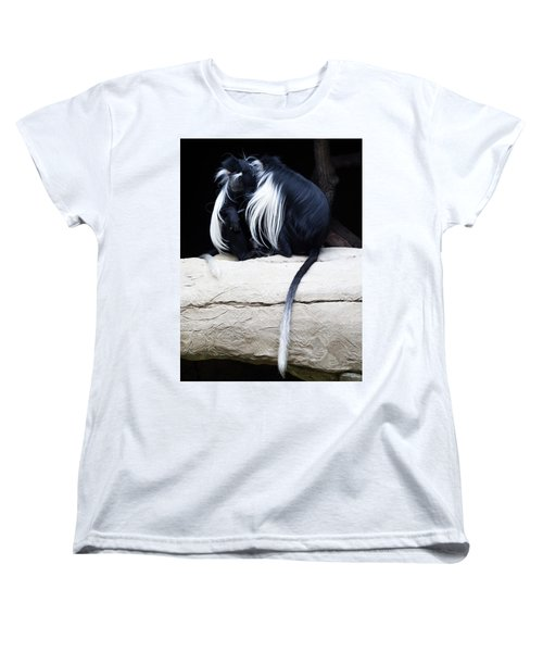 Lost In Cuddling - Black And White Colobus Monkeys  Women's T-Shirt (Standard Cut) by Penny Lisowski