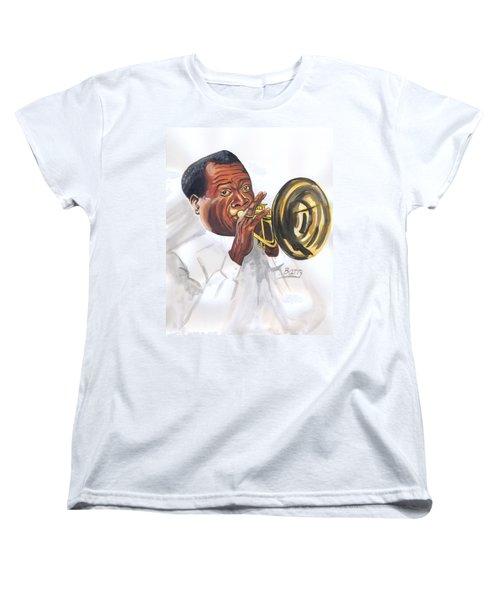 Women's T-Shirt (Standard Cut) featuring the painting Louis Armstrong by Emmanuel Baliyanga