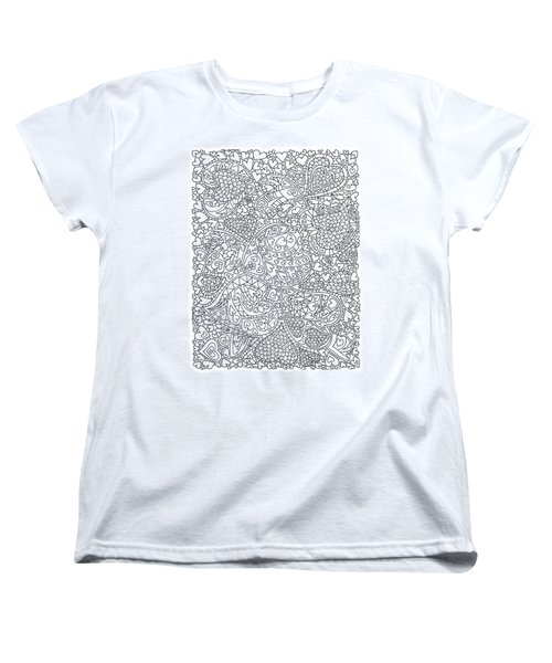 Love And Chrysanthemum Filled Hearts Vertical Women's T-Shirt (Standard Cut) by Tamara Kulish
